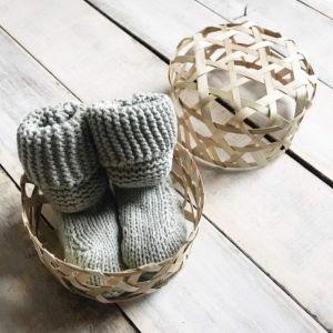 Sage organic baby booties - Suzi
