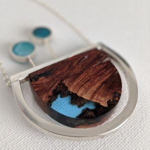 Wood and Silver with two trees - Muro Jewelry